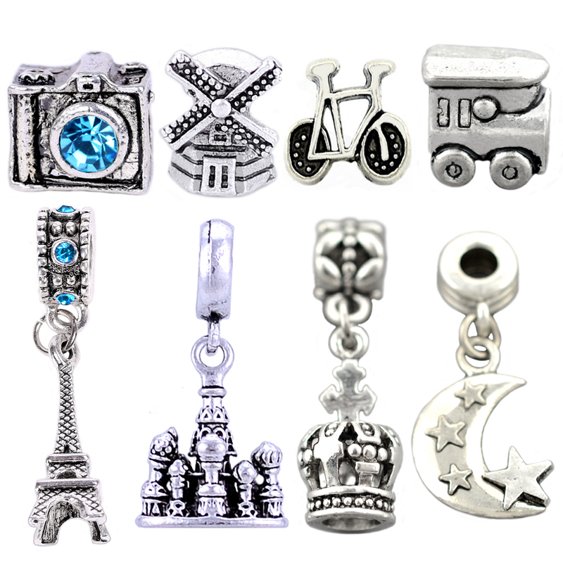 1 Set , Vintage Silver Camera windmill Bead and Castle Eiffel Tower Pendants Fit pandora Charms Bracelets&Bangles ,SPP126