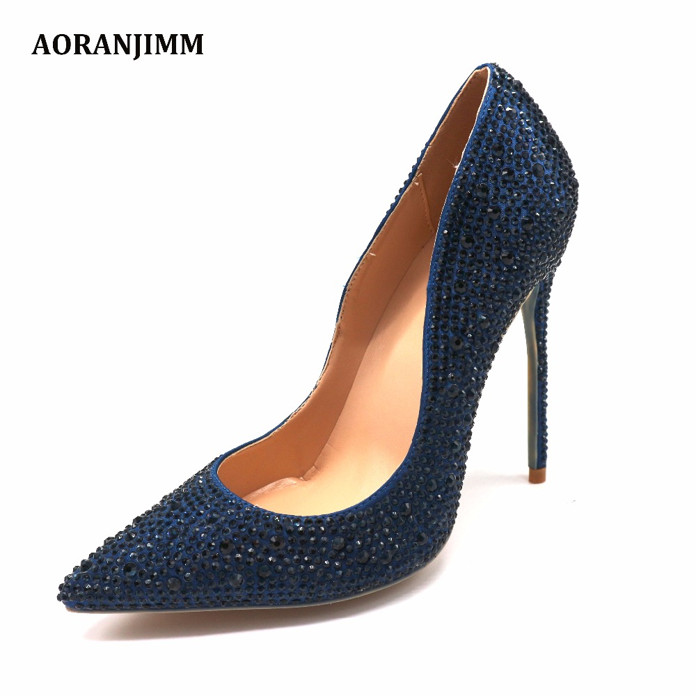 bea3b221a Free shipping real pic dark blue navy crystal rhinestone pointed toe hot  sale women lady evening party high heel shoes pump