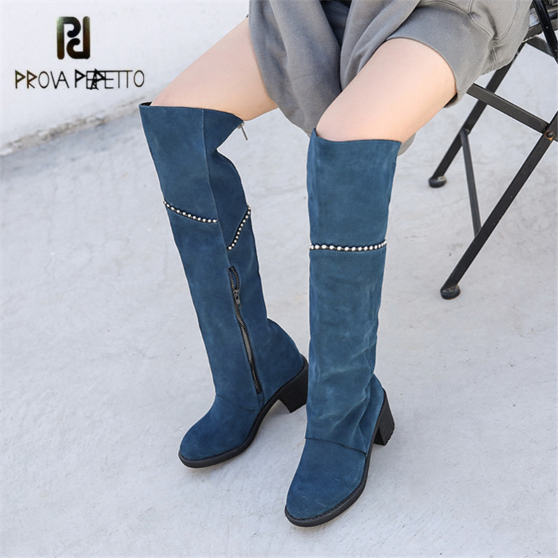 Prova Perfetto 2018 New Suede Women Thigh High Boots Chains Decor Over the Knee Boots Chunky