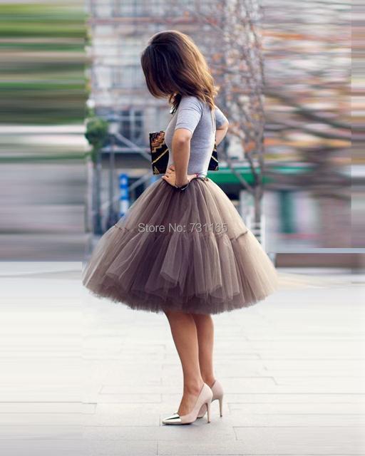 Frete Grátis 6 Camadas 2016 camadas de Tule Tutu Saias Midi saia Mulheres Partido Design de Moda saias femininas faldas cortas formal
