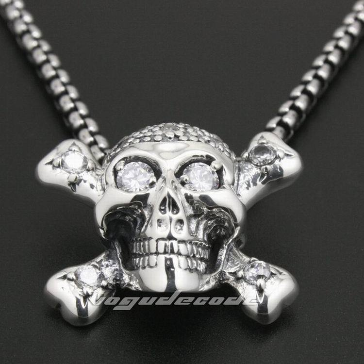925 Sterling Silver White CZ Skull Bone Mens Biker Rocker Pendant 8N013(Necklace 24inch) skull cross bone solid 925 sterling silver mens biker pendant 8c010 necklace 24inch