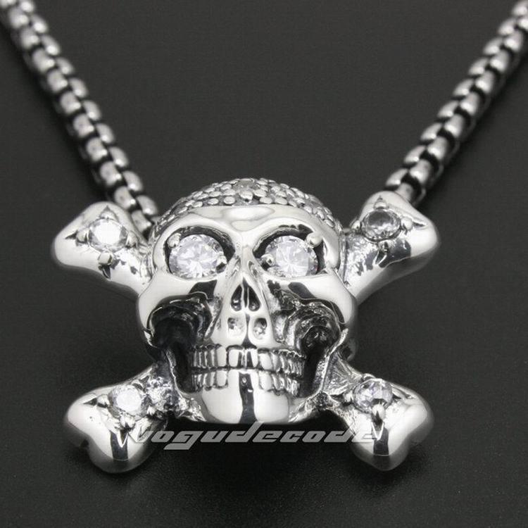 925 Sterling Silver White CZ Skull Bone Mens Biker Rocker Pendant 8N013(Necklace 24inch) pirate skull cross sword bone solid 925 sterling silver mens biker pendant 8c006 necklace 24inch