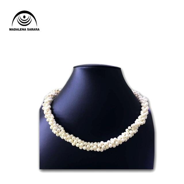 9cfd90f0ed90 MADALENA SARARA AAA 8-9mm agua dulce perla collar blanco perla varias filas  de collar