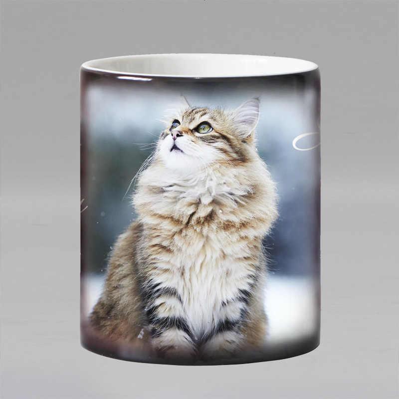Darmowa wysyłka piękny kot ciepła ujawnić kubek ceramiczny kolor zmiana kubki kawy magiczna herbata kubek kubek jako prezent dla przyjaciół