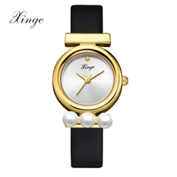 Xinge Luxury Brand Watches Women Fashion Ultra Thin Ladies Pearl Watch Stainless Steel Leather Strap Vintage