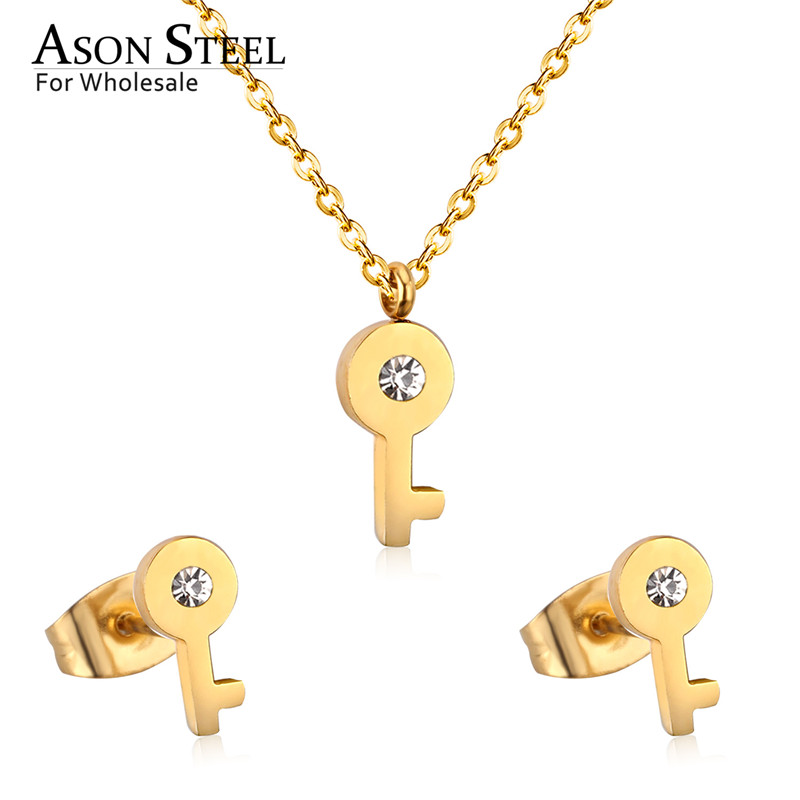 Pendant Necklace Jewelry-Sets Stud-Earrings Gold 316l-Stainless-Steel Wedding-Zirconia