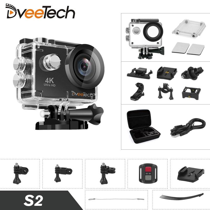 Действие Камера 4k WiFi Водонепроницаемый Full HD Спорт и Действие Видео 16Mp 30 М 1080 P подводный Cam велосипед мини видеокамера dveetech S2