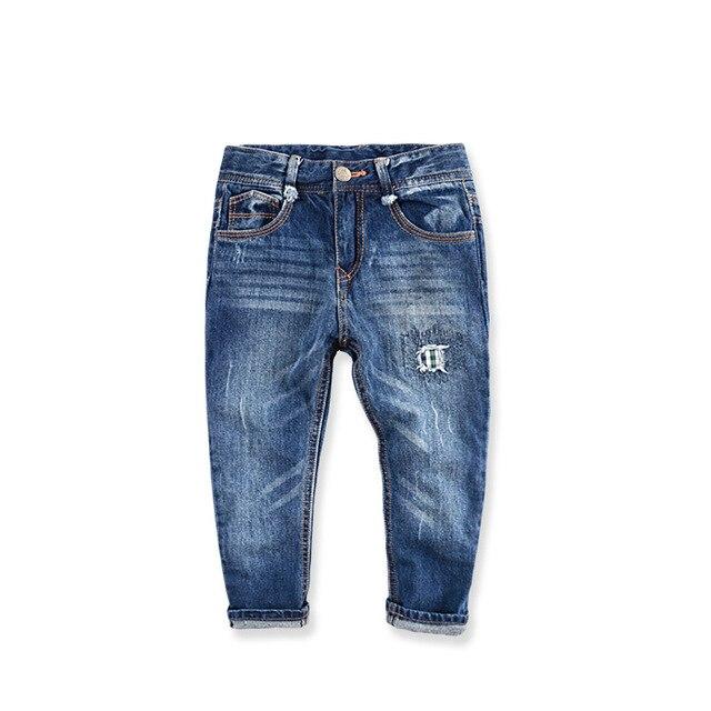 Бренд детские мальчики девочки джинсы брюки осень модельер джинсы дети джинсовые брюки случайные Пропатчены джинсы для девушки парни 3-10Y