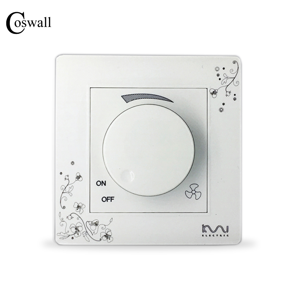 COSWALL Fashion Fan Speed Controller Ivory White Brief Art Pattern Wall Switch AC 110~250V