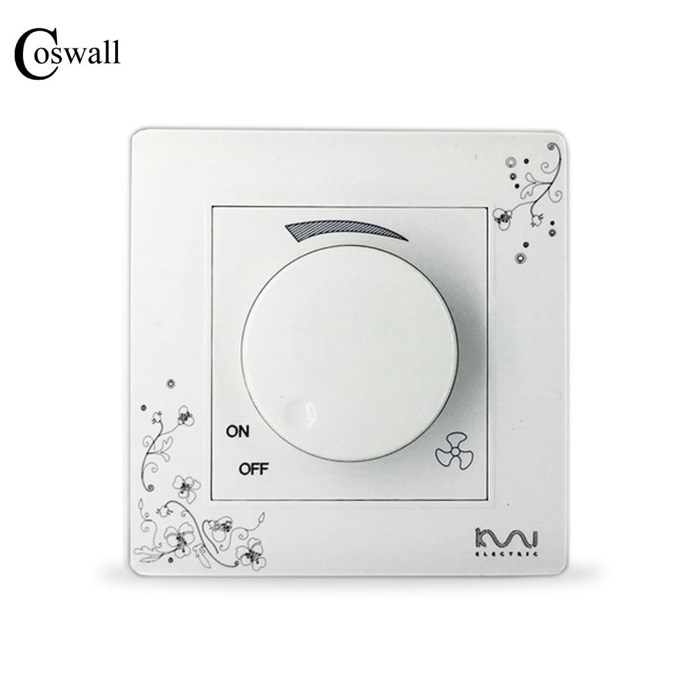 все цены на COSWALL Fashion Fan Speed Controller Ivory White Brief Art Pattern Wall Switch AC 110~250V онлайн