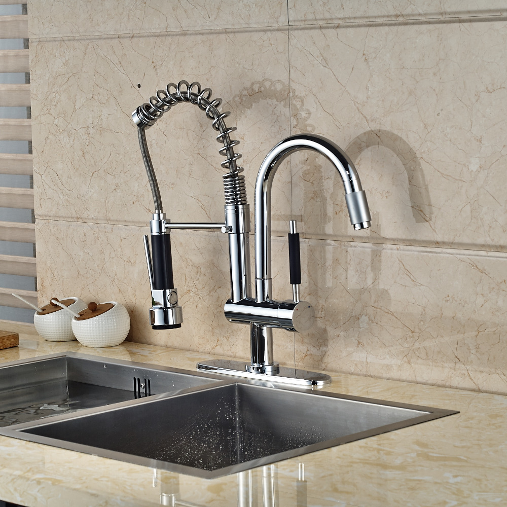 Chrome Brass Kitchen Faucet Spring 2 Spout Swivel Spout Mixer Tap ...