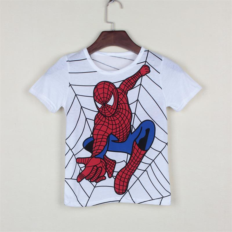 T-Shirt Boys Kids Cartoon Children's Short-Sleeved Cotton New Hero Gray Popular Printing