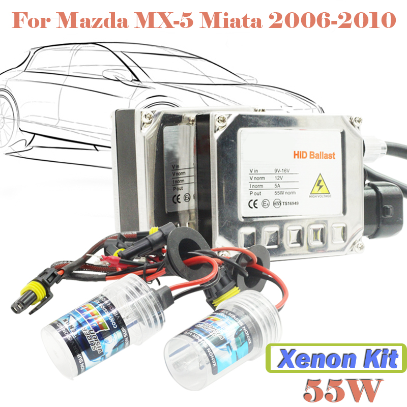 55W Xenon HID Kit Full Set 3000K-15000K (1 Pair Ballast + 1 Pair Bulb) Car Head Light Headlight For Mazda MX-5 Miata 2006-2010  55w xenon hid kit aluminum shell ballast bulb 3000k 15000k car conversion headlight head light for is250 2006 2013