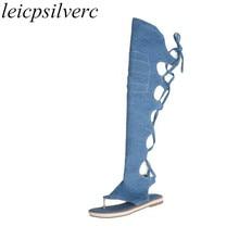 Women Sandals Flat Beach Shoes Denim Clip Toe Lace Up Knee High Gladiator Summer Boots 2018 Sexy Fashion Casual Black Blue Beige недорого