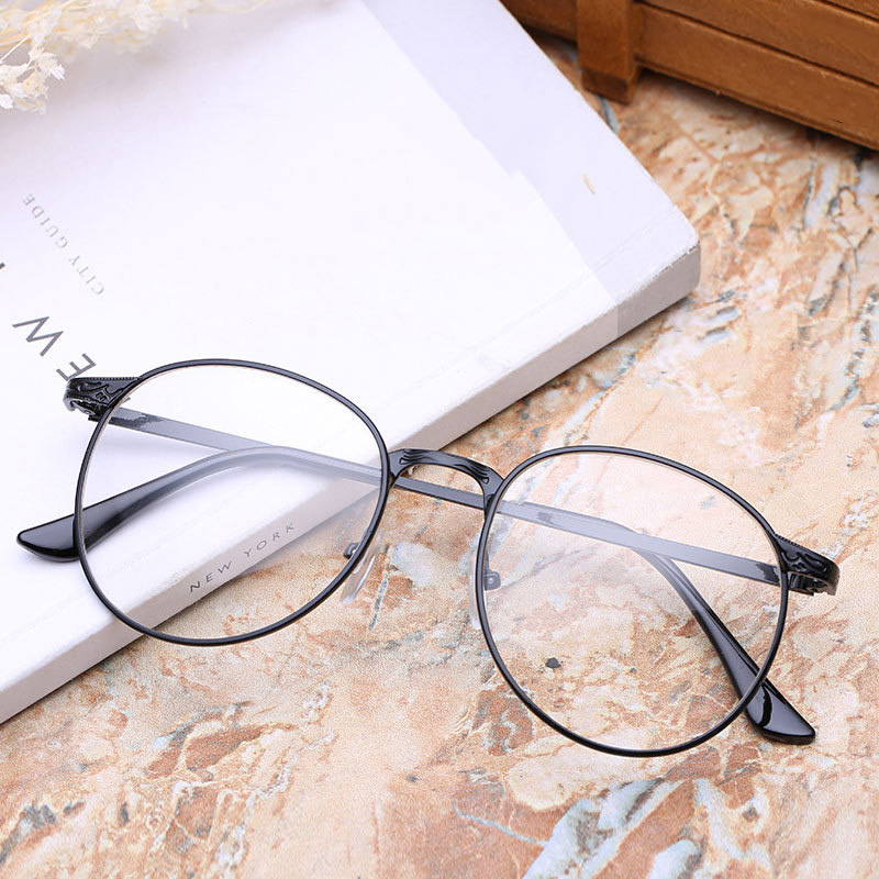 New Retro Round Antique Glasses Frames Male Full Frame Metal Gray ...