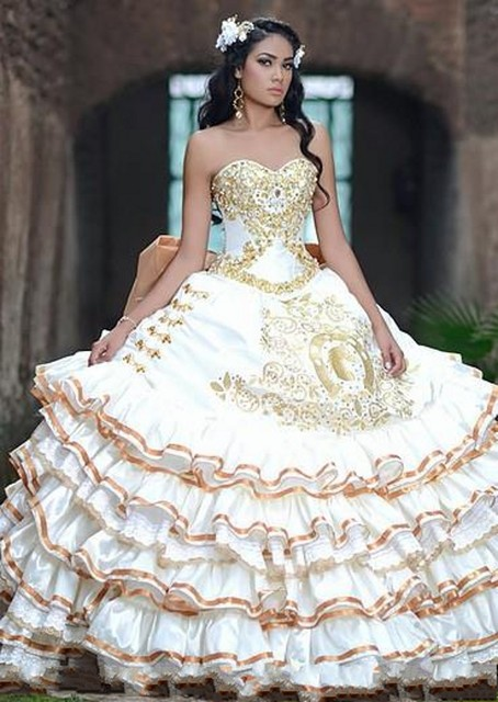 Gold White Ball Gown Sweetheart Satin Quinceanera Dresses
