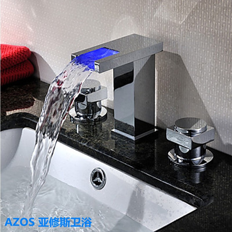 Color Change LED Chrome Waterfall 3 Holes Sink Faucets Hot and Cold ...