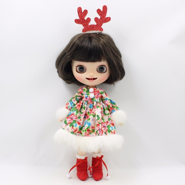 Neo Blythe Doll Christmas Dress & Red Headdress Antlers Boots
