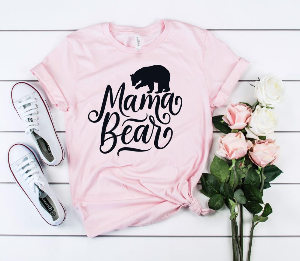 Funny T-Shirt Hipster Bear-Print Girl Mama Cotton Casual for Lady Top-Tee Ins NA-102