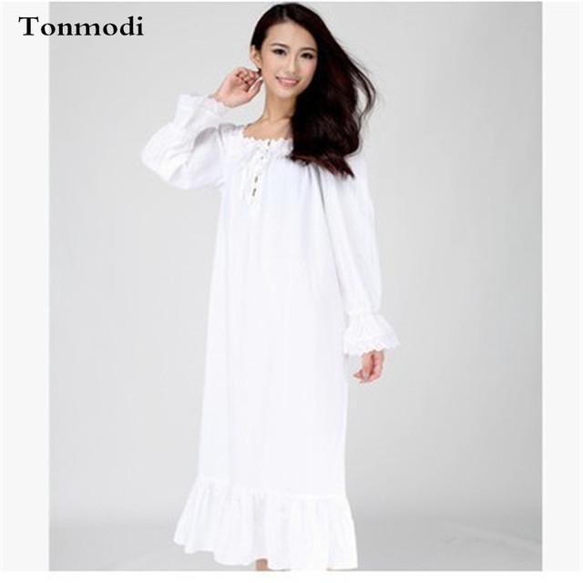 Mulheres Nightgowns Vestido de Noite Branco Longo Tecido De Algodão Fino Primavera E Verão Night-Robe Sono das Mulheres Salão Sleepshirts