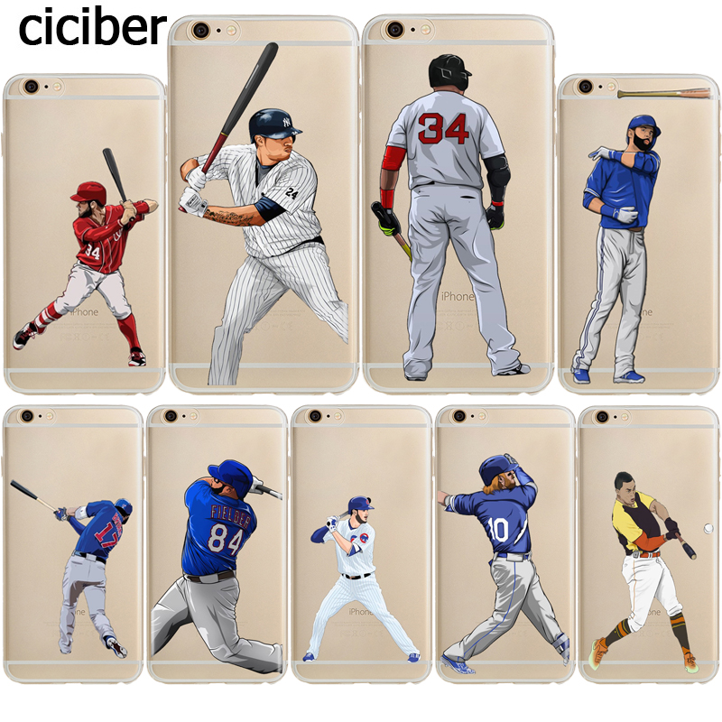 on sale 86588 6226d MLB Baseball Players David Ortiz Sport Stars Case for iphone 8 7 6S 6 PLUS  X 10 5 5S SE Silicone Soft Transparent Capinha Cover