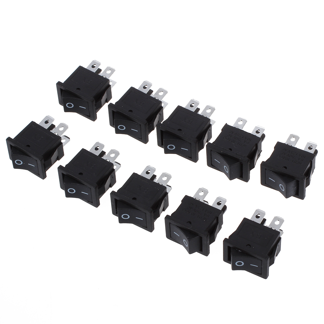 10 Pcs x 4 Pin On-Off 2 Position DPST Boat Rocker Switches 10A/125V 6A/250V AC