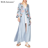 M H Artemis Floral Embroidery Women Sequins Autumn Long Dress Plunge V Neck Sexy Loose Long