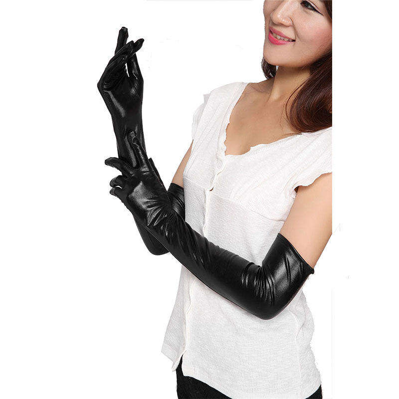 Womens sexy gloves naked red head