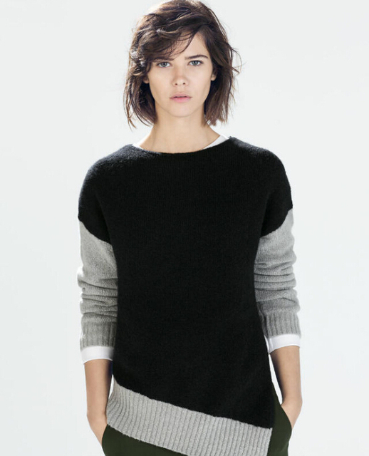 Jersey Mujer New 2015 Fashion Women Long Sleeve O-Neck Pullover Casual Patchwork Asymmetrical Sweater