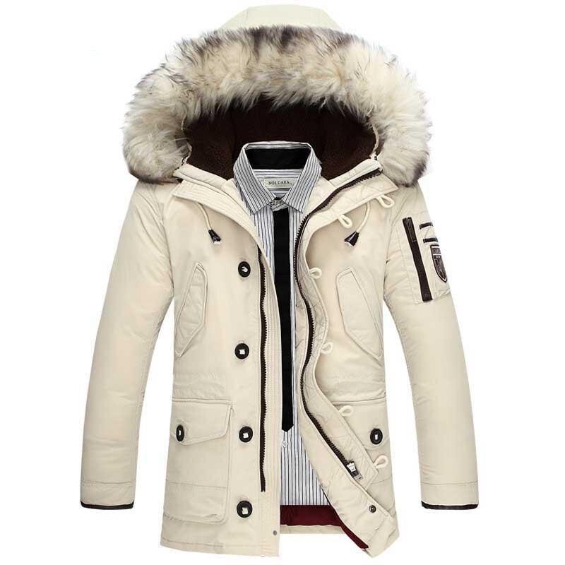 2018 Nuovo di Marca Casual Piume D'anatra Bianca Giacca Da Uomo Inverno Caldo Lungo di Spessore Maschio Cappotto Faux Fur cappotto Antivento Parka