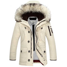 2019 New Casual Brand White Duck Down Jacket Men Winter Warm Long Thick Male Overcoat Faux Fur Windproof coat Parkas(China)