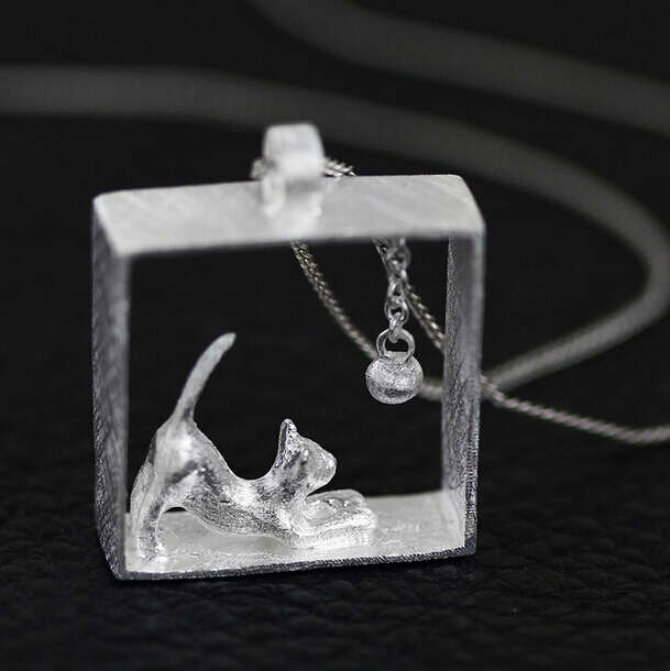 925 Sterling Silver Necklace Silver Chain Cat Kitty Necklaces & Pendants For Women Girl Fine Jewelry Collares Colar de Plata D5