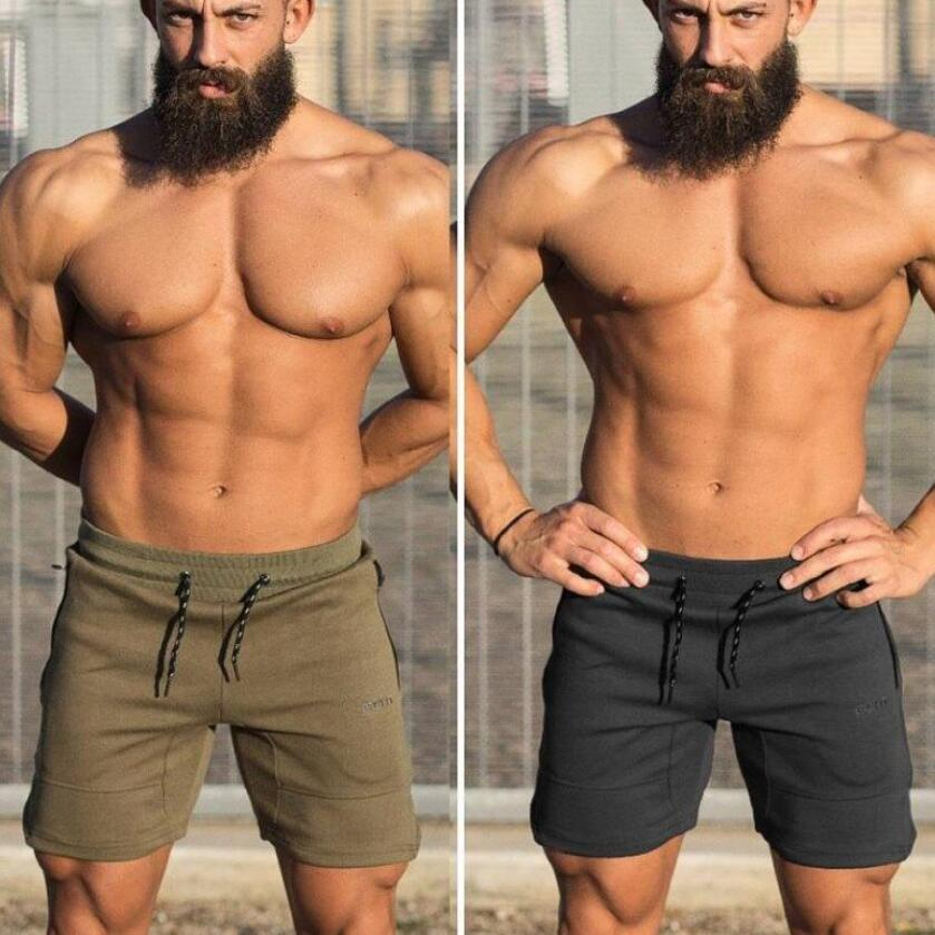 New Men Fitness Bodybuilding Shorts Man Summer Workout Male Breathable Cotton Sportswear Jogger Beach Short Pants