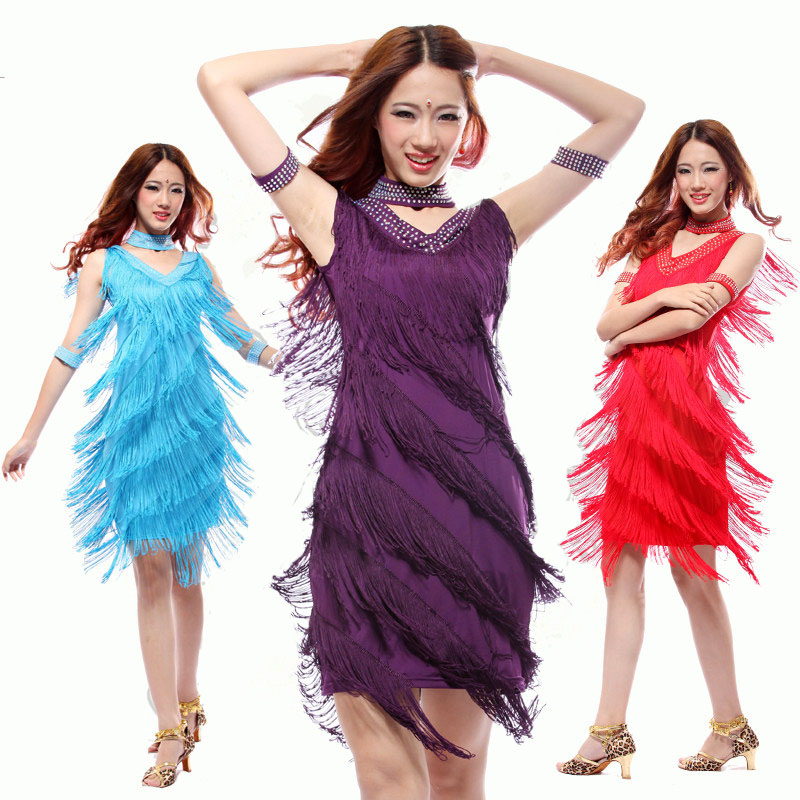 Women Latin Dance Costume Suits Professional Sexy Ladies Fringes Long Skirt Ballroom Clothes Tango Samba Tassel Dresses Clothing