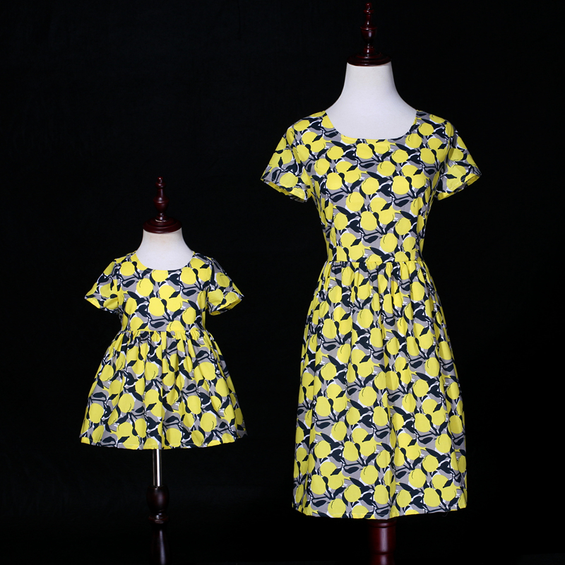 Summer children girl lemon print dress cotton family clothing mini me kids mom girls casual dress mother daughter matching dress 2017 summer children clothing mother and daughter clothes xl xxl lady women infant kids mom girls family matching casual pajamas