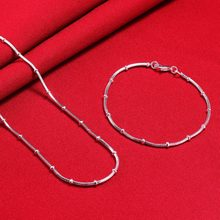 Silver 925 Jewelry Set for Women Slim minimalism Snake Chain Beads Necklace Bracelet Jewellery Sets Female Accessories Wholesale(China)