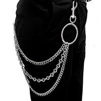 Для мужчин тяжелый металлический пояс череп Байкерский цепочка для ключей бумажник рок повседневные брюки в байкерском стиле в стиле