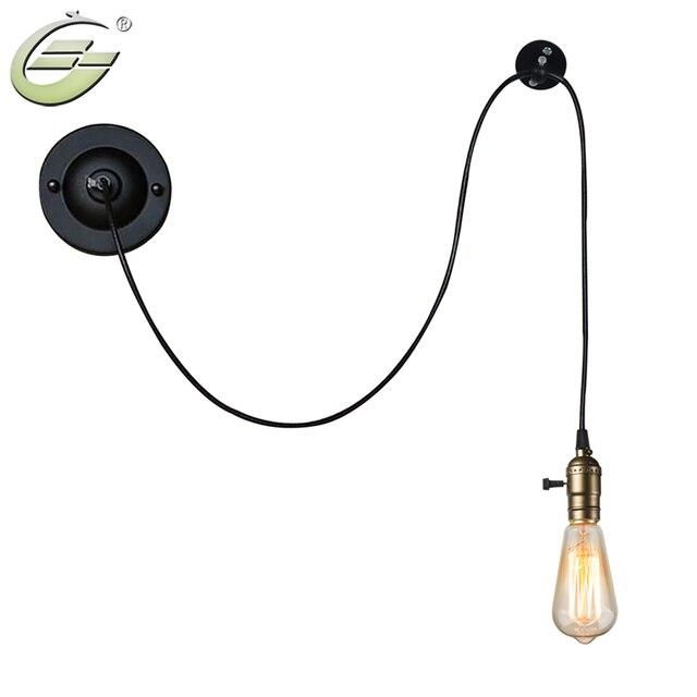 Vintage Industriel Noir Fil De Fer Mur Lumiere E27 Edison Ampoule
