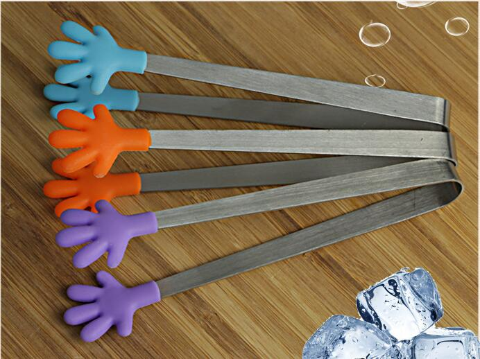 1PC Stainless Steel Silicone Tongs For Barbecue Party Bar BBQ Clip Bread Food Ice Clamp Ice Tong Kitchen Tool Accessories NE 005 in Ice Buckets Tongs from Home Garden