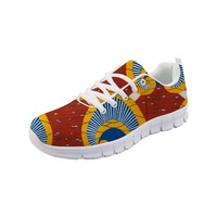 FORUDESIGNS Women Mesh Flats Lace Up Shoes African Printed Causal Female Flat Tenis Footwear Comfortable Vintage Sneakers Mujer