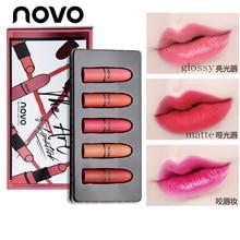 5pcs/lot NOVO Brand Lip Makeup Set Matte and Glossy Mini Lipstick Moisturizer Li