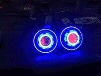 Одна пара 7 дюйм(ов) JK Led звездное фары для автомобиля с дьявол, демон глаз и ангел halo