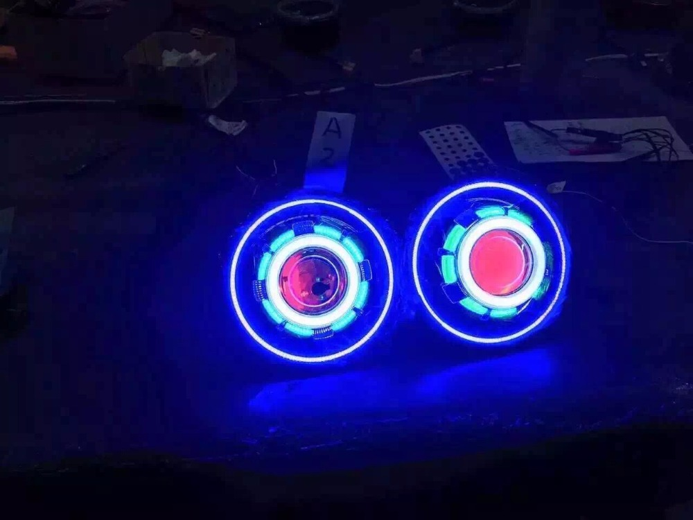 One pair 7 inches j eep led starry headlights with devil demon eye and led angel halo