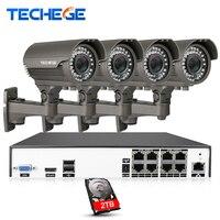 8CH Techege H.265 4 K 4.0MP System POE 2.8-12mm Obiektyw O Zmiennej Ogniskowej Kamery IP 2592*1520 IR odkryty Bezpieczeństwo Nadzór Wideo Zestaw HDD