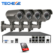 Techege H.265 8CH 4K POE System 2.8-12mm Varifocal Lens 4.0MP IP Camera 2592*1520 IR Outdoor Video Security Surveillance Kit HDD