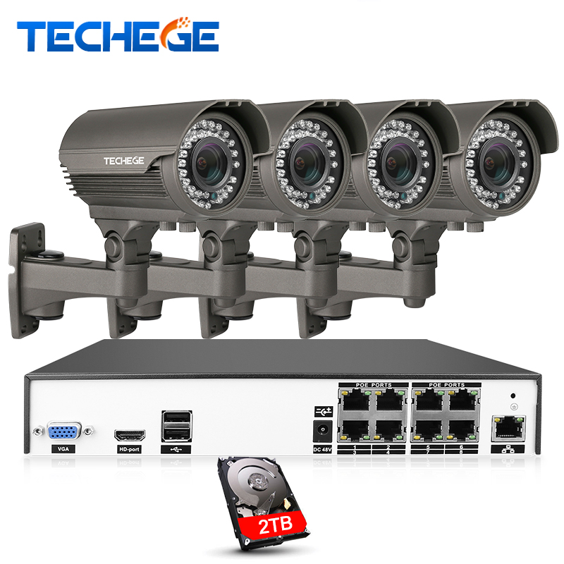 Techege H.265 8CH 4K POE System 2.8 12mm Varifocal Lens 4.0MP IP Camera 2560*1440 IR Outdoor Video Security Surveillance Kit HDD
