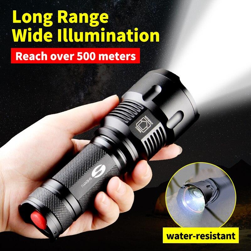Linterna LED táctica potente SHENYU CREE XML-T6 linterna impermeable Zoomable para batería 26650 recargable o AA