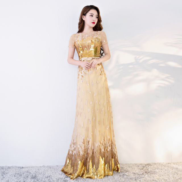 f40934a92d1 Doparty plus size elegant sexy long party sequin gold evening dress 2019  mother of the bride for women dresses X5