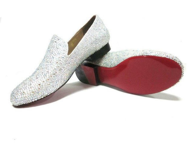 918ed5a0004b4 Brand French Red Bottom White Rhinestone Men Crystal Shoes Men s Desinger  Shoes Flat Sandals Crystal Casual Flat Shoes