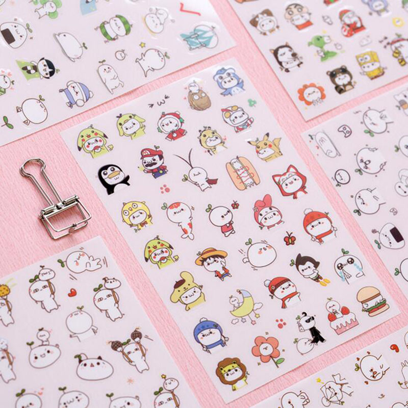 N42 6 sheets Kawaii Cute Cartoon Character Series Decor Stickers Album Notebook Cup DIY Adhesive Stickers Student Stationery cute n clever набор папа помогай ка